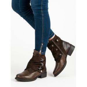 Štýlové hnedé kotníkové dámske čižmy s variabilným dizajnom vzhľadu
