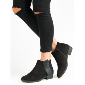 Čierne dámske členkové topánky s bočným zipsom a trblietavým pásom