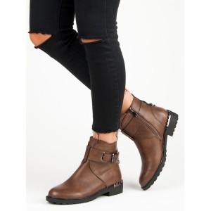 Dámske hnedé členkové zimné topánky s vybíjaným opätkom a prackou