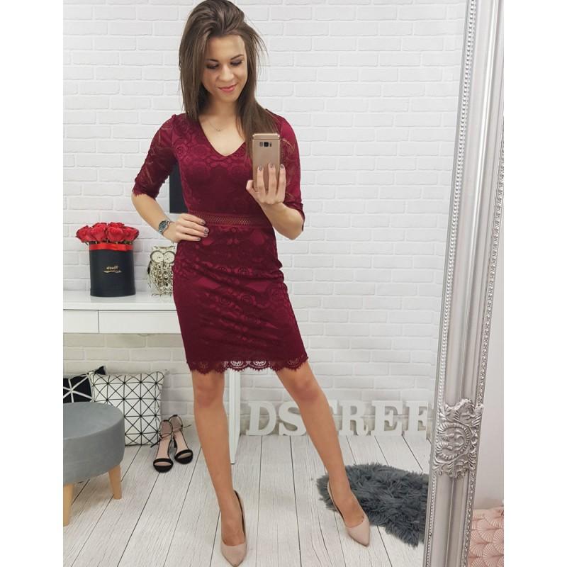 0885152f85ba Dámske čipkované šaty v bordovej farbe vhodné na formálne príležitosti