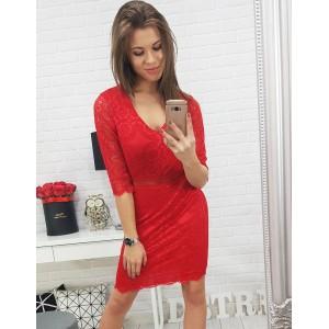Červené dámske elegantne šaty čipkované