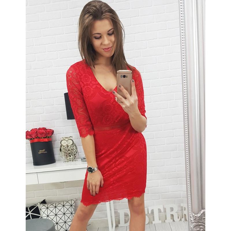 e5f24f1f6699 Červené dámske elegantne šaty čipkované