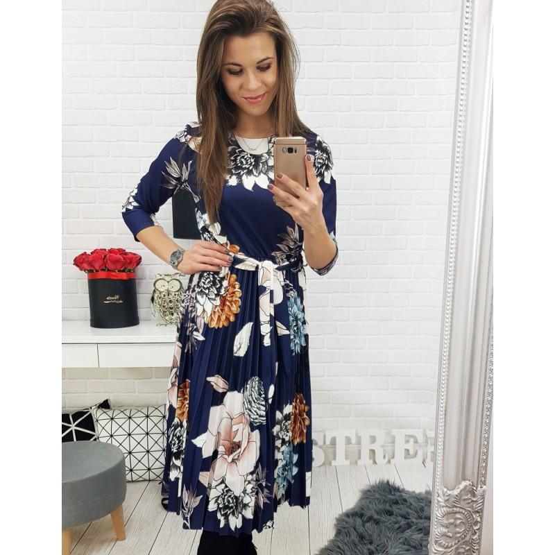 209e1add59 Dlhé dámske kvietkované šaty v modrej farbe