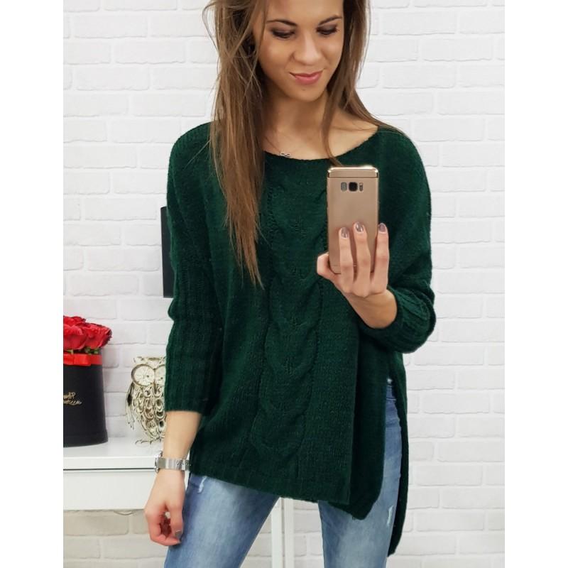 d4f7562e3dca Smaragdovo zelený dámsky pletený sveter v trendy oversize strihu