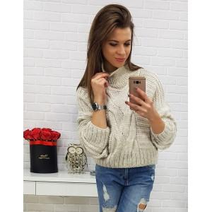 Béžový dámsky pletený sveter krátkeho strihu s rolákom a trendy vzorom