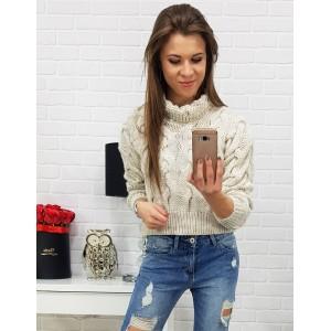 Trendy dámsky pletený béžový sveter nad pás s nariasenými rukávmi
