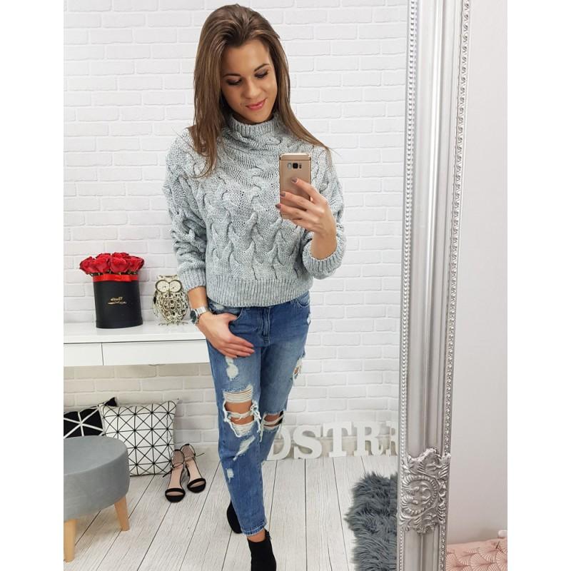 74589782dd87 Sivý pletený dámsky sveter nad pás s rolákom a trendy vzorom