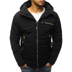 Čierna krátka pánska zimná bunda s kapucňou a zapínaním na zips
