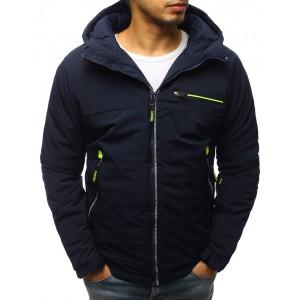 Tmavo - modrá pánska zimná bunda s neónovými pásmi a kapucňou