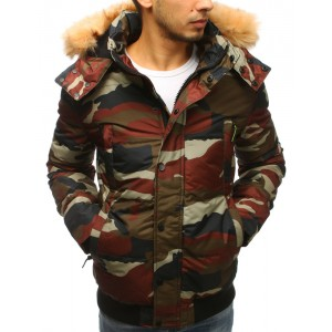 Krátka pánska zimná bunda v army štýle a bohatou kožušinovou kapucňou