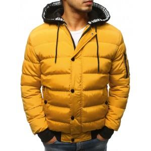 Štýlová žltá prešívaná pánska bunda s odnímateľnou kapucňou