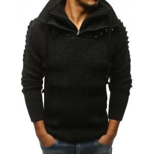 Pánsky sveter čiernej farby s vysokým golierom