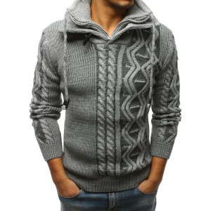 Pletený pánsky sveter s golierom na zips