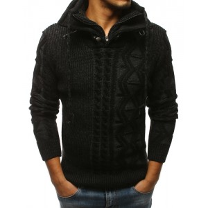 Pletený pánsky sveter čiernej farby