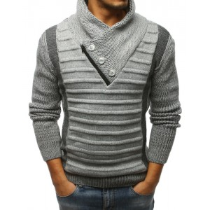 Teplý pletený pánsky sveter s golierom