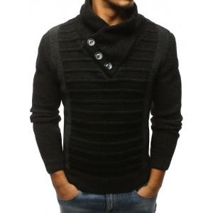 Čierny pánsky pletený sveter cez hlavu