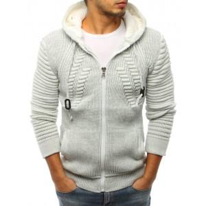 Svetlo sivý pánsky sveter na zips