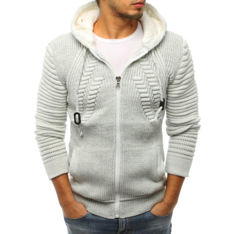 ed53c4d55255 Svetlo sivý pánsky sveter na zips