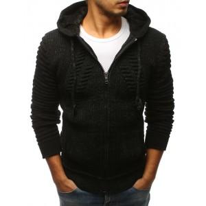 Elegantný pánsky sveter na zips čiernej farby