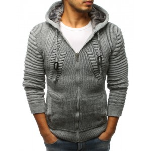 Hrubý pánsky sveter sivej farby s kapucňou