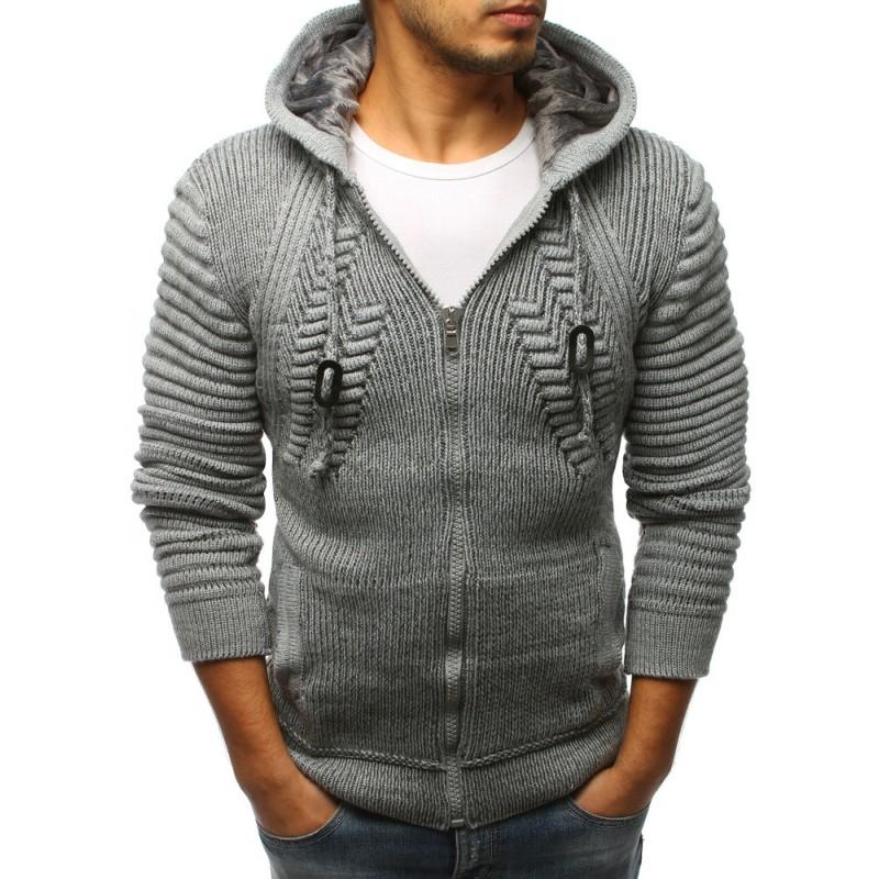 be364a8c08ea Hrubý pánsky sveter sivej farby s kapucňou
