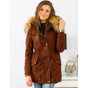 Dámska hnedá zimná bunda parka s bohatou kožušinovou kapucňou