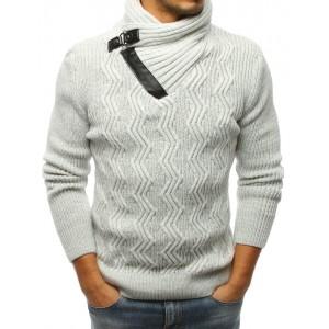 Pánsky sveter na zimu svetlo sivej farby