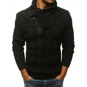 Čierny pánsky pletený sveter s golierom