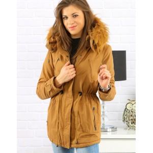 Horčicová dámska zimná bunda s odnímateľnou kožušinovou kapucňou