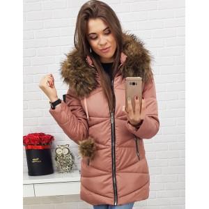 Trendy prešívaná dámska ružová zimná bunda so zapínaním na zips