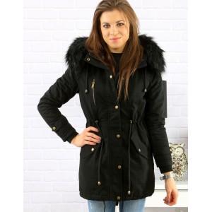 Štýlová čierna dámska bunda parka s kapucňou a zlatými aplikáciami