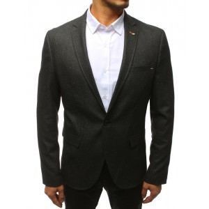 Pánske čierne sako so zapínaním na jeden gobík