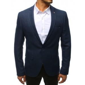 Športové tmavo-modré pánske sako so zapínaním na jeden gombík