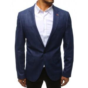 Moderné pánske modré slim sako s decentným károvaným vzorom