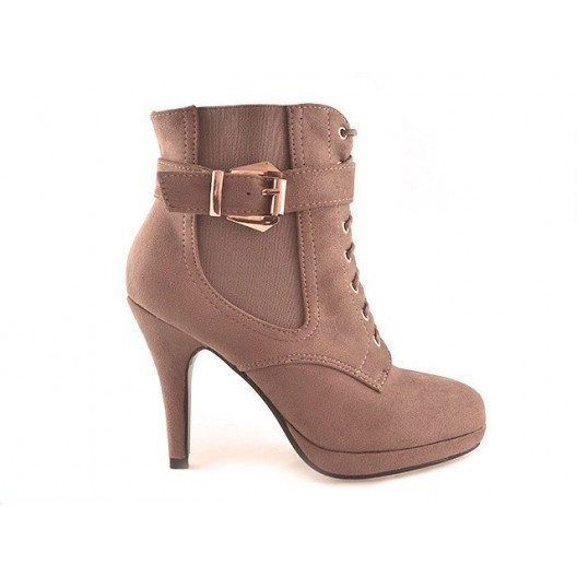 Trendy dámske topánky s vysokým podpätkom béžovej farby na platforme s remienkom