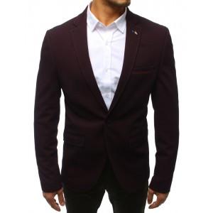 Trendy bordové pánske sako so zapínaním na jeden gombík a vreckami