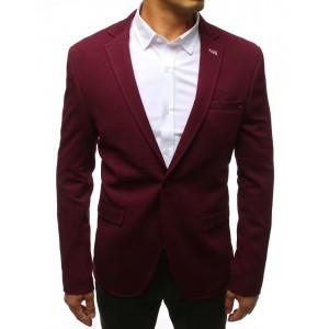 Športové pánske sako k rifliam v bordovej farbe
