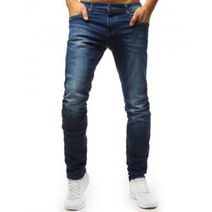 Klasické pánske modré jeansy na zips zúženého strihu