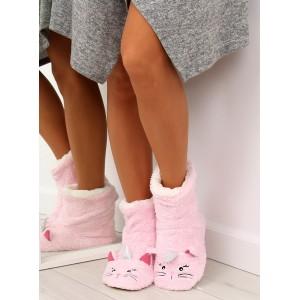 Dámske teplé ružové papuče s motívom jednorožca
