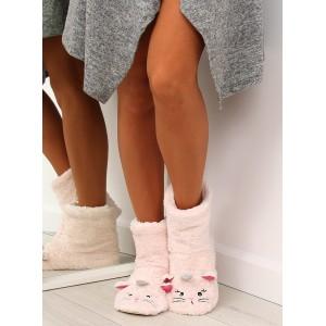 Teplé dámske papuče s motívom mačičky v jasno ružovej farbe