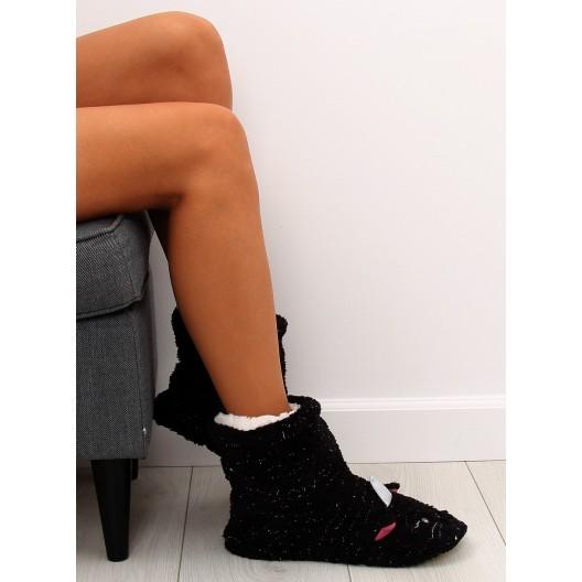 Dámske papuče so striebornými nitkami s motívom čiernej mačičky