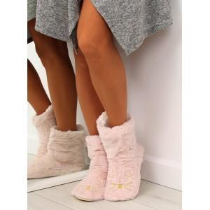 Domáce papuče pre dámu v ružovej farbe s motívom mačky