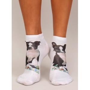 Biele dámske ponožky s motívom psíka