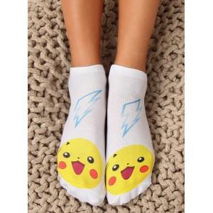 Biele dámske ponožky s rozprávkovou postavičkou pikachu