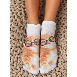 Biele dámske členkové ponožky s motívom mačky s okuliarmi