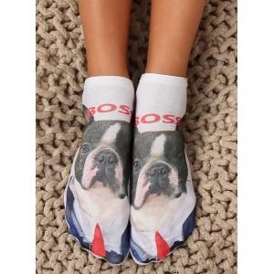 Dámske veselé ponožky psíka s názvom boss