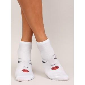 Originálne biele dámske ponožky s tvárou ženy