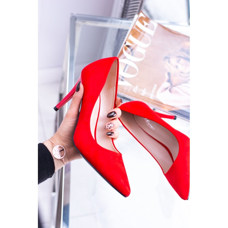 d7c1fcfe1296 Elegantné dámske červené semišové lodičky na vysokom opätku