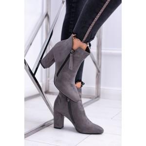 Elegantné dámské sivé členkové čižmičky s trendy bočným zipsom