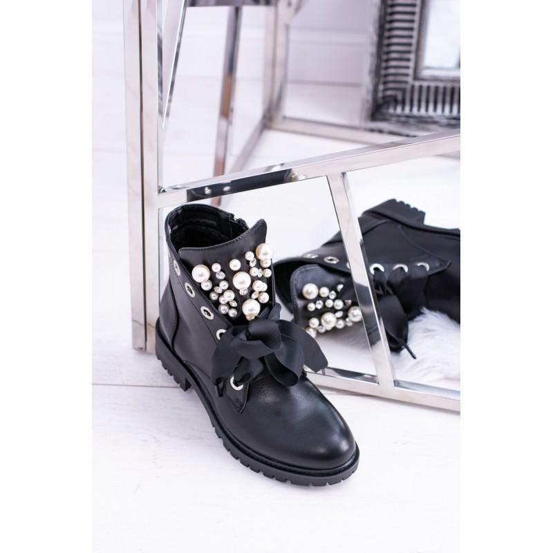809d252b0e49 Trendy čierne kotníkové dámske topánky na zimu s ozdobnými perličkami